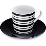 Xícara de Chá 190 ml 6 pçs Black Stripes Preto Stripes