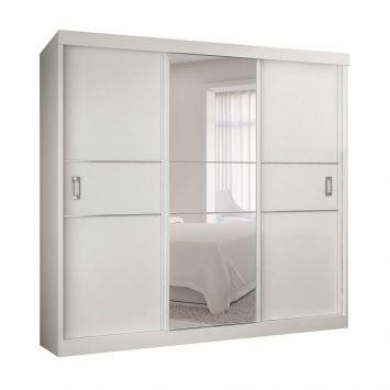 Guarda - Roupa Casal com Espelho Capri 3PT 3GV Com Epelho Branco Bianchi Móveis Capri