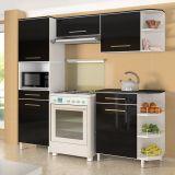 Cozinha Campacta Beatriz Premium 5 Portas e 2 Gavetas Preto