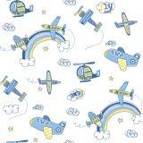 Papel de Parede Bambino's Aviões Azul  BBNS-3306 Bobinex