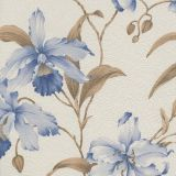 Papel de Parede Harmonia Bege, Azul  Flores 9114