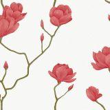 Papel de Parede Natural Cerejeira Vermelha com Branco