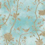 Papel de Parede Natural Floral Azul com Pássaros