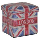 Puff Box Londres Madeira Estampado
