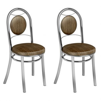 Conjunto 2 Cadeiras Ca - 945 Cromada Mad. Marrom Assento Alto Brastubo CA - 945