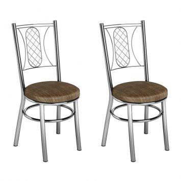 Conjunto 2 Cadeiras Ca - 965 Cromada Mad. Marrom Assento Alto Brastubo CA - 965