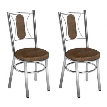 Conjunto 2 Cadeiras Ca - 990 Cromada Tabaco Quadriculado Assento Alto Brastubo CA - 990