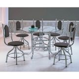 Conjunto de Mesa 6 Cadeiras Cromado & Camurça Marrom Alasca Brastubo