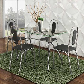 Conjunto de Mesa Aquila com 4 Cadeiras Aço Cromado Brastubo AQUILA