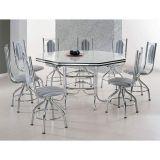 Conjunto de Mesa Com 8 Cadeiras Cromado & Listrado Preto Las Vegas Brastubo