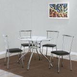 Conjunto de Mesa com 4 Cadeiras Cromado & Preto Sintra Brastubo