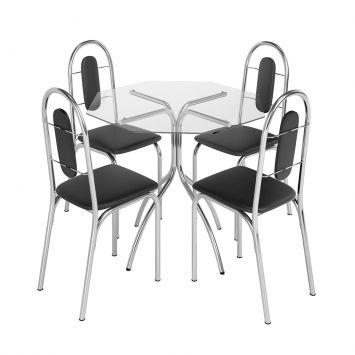 Conjunto de Mesa com 4 Cadeiras Estrela Aço Cromado Brastubo ESTRELA
