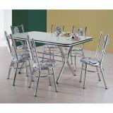 Conjunto de Mesa com 6 Cadeiras  Cromado & Damasco Bege Servilha Brastubo