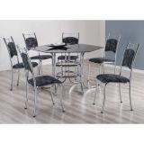 Conjunto de Mesa com 6 Cadeiras Cromado & Damasco Preto Onix