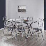 Conjunto de Mesa com 6 Cadeiras Cromado & Listrado Preto Vigo Brastubo
