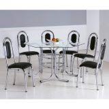 Conjunto de Mesa com 6 Cadeiras Cromado & Preto Veneza Brastubo
