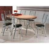Conjunto de Mesa com 6 Cadeiras Cromado & Tabaco Abalama Brastubo