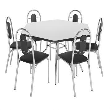 Conjunto de Mesa com 6 Cadeiras Jaspe Aço Cromado Brastubo JASPE