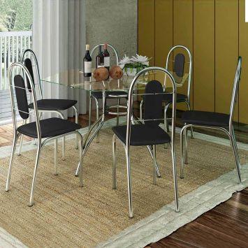 Conjunto de Mesa com 6 Cadeiras Sicília Aço Cromado Brastubo SICILIA