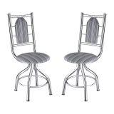 Kit 2 Cadeiras Cozinha Ca-950 Corino Listrado Preto Brastubo