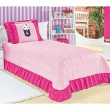 Cortina Margarida Infantil - 2,00 X 1,70 - Tecido De Malha - Pink/Rosa