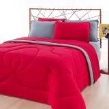 Jogo de Cama Solteiro City Home Color Liso Vermelho e Liso Cinza Brilhante Roupa de Cama