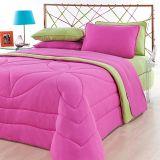 Jogo de Cama Solteiro Kit City Home Color Liso Pink e Liso Pistache Brilhante Roupa de Cama