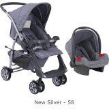 Conjunto Carrinho Rio Plus Reversível + Bebê Conforto Touring SE New Silver - Burigotto