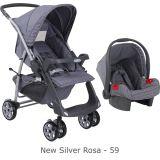 Conjunto Carrinho Rio Plus Reversível + Bebê Conforto Touring SE New Silver Rosa - Burigotto