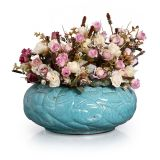 Enfeite Floreira Folhas  Azul Turquesa Buzzios