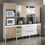 Cozinha Compacta Auda 7 PT - 3 GAV Branco Com Nogal CHF Móveis