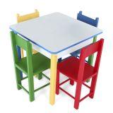 Mesa Com 4 Cadeiras De Madeira- Mad. E MDF - Caixa De Papelão Colorido Carlu Brinquedos