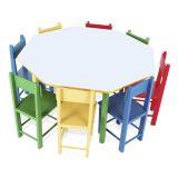 Mesa Oitavada Com 8 Cad De Madeira - Mad E MDF - Caixa De Papelão Colorido Carlu Brinquedos