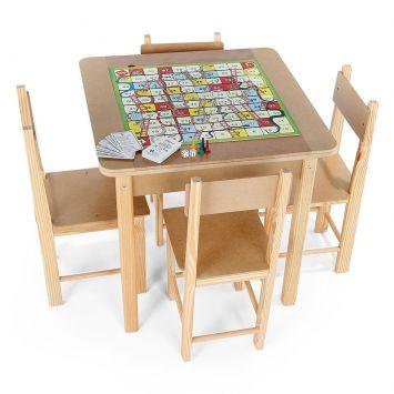 Mesa Para Recreacao MDF 5 Jogos Caixa De Papelão Colorido Carlu Brinquedos Carlu Brinquedos Mesa