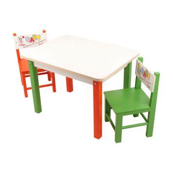 Mesa Baby Rabiscos de iniciação com 2 cadeiras em MDF Carlu carlu
