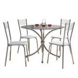 Conjunto de Mesa 375 e 4 Cadeiras 141 Branca Carraro