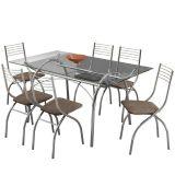 Conjunto de Mesa 379 e 6 Cadeiras 146 Conhaque Carraro