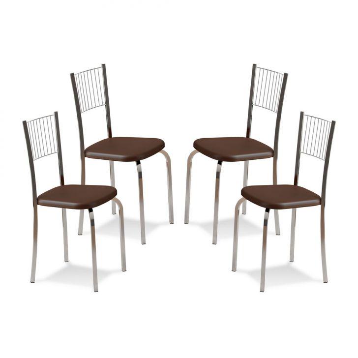 Kit 4 Cadeiras De Cozinha 367 Cacau |Carraro
