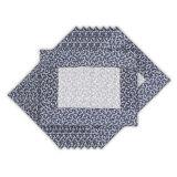 Kit de jogo americano 35 x 45 cm  Xadrez  Azul  8 pçs Casa Com Charme