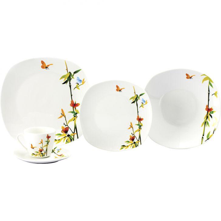 Jogo de Jantar Quadrado Borboleta Porcelana 20 pçs