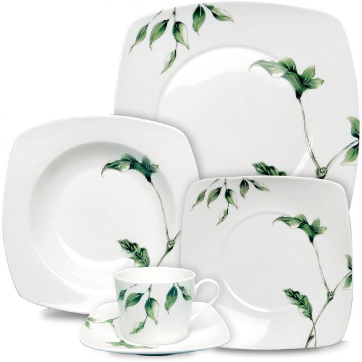 Jogo de Jantar Quadrado Kênia Porcelana 20 pçs