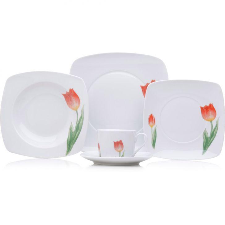 Jogo de Jantar Quadrado Nova Tulipa Porcelana 20 pçs