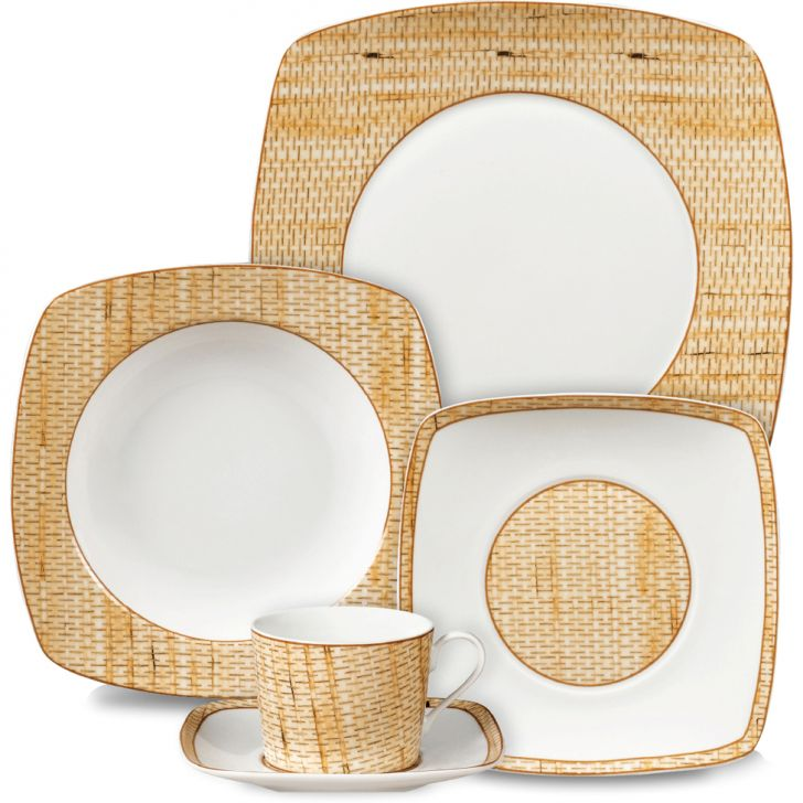Jogo de Jantar Quadrado Texture Porcelana 10 pçs