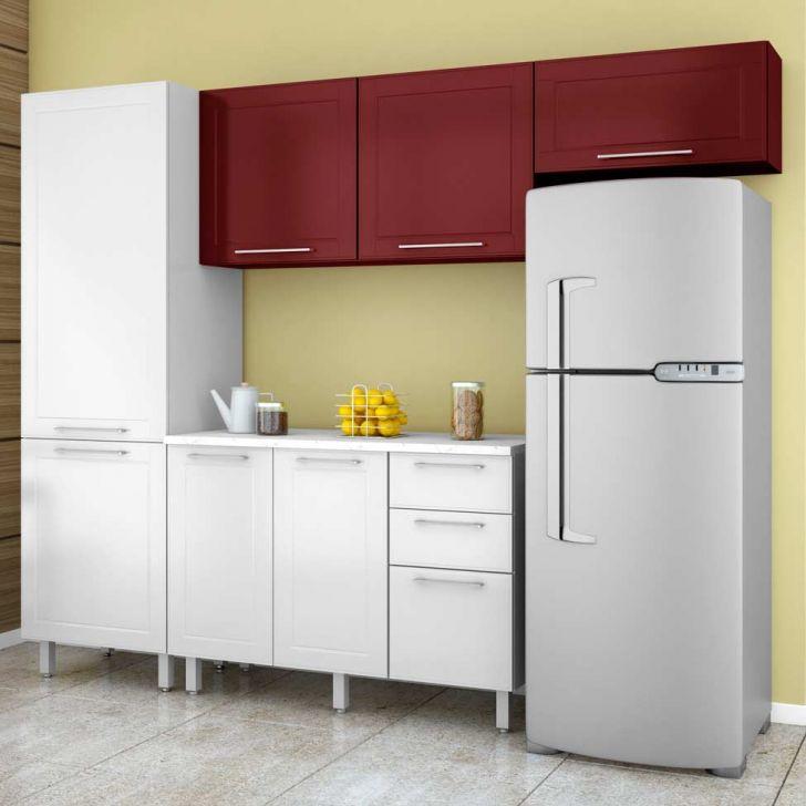 Cozinha Compacta Aço 1 Play Branco Sal E Vermelho Páprica DESCONTO DE R$: 920,00 (33,95% OFF) - OFERTA MOBLY