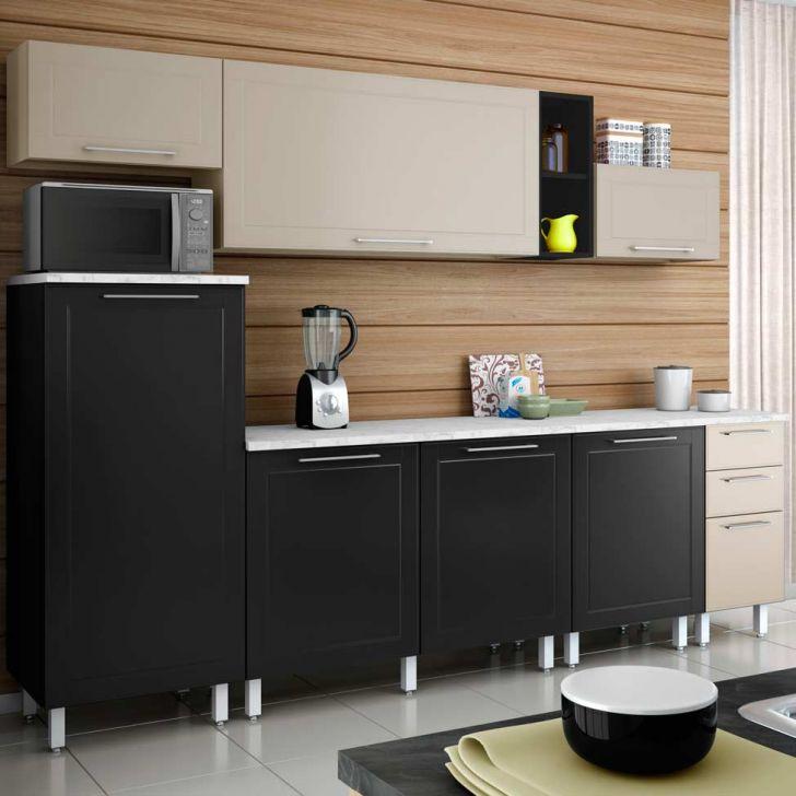 Cozinha Compacta Aço 3 Play Bege Baunilha E Preto Jabuticaba DESCONTO DE R$: 1.280,00 (33,08% OFF) - OFERTA MOBLY