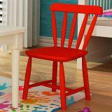 Cadeira Infantil em Madeira - Acabamento Laqueado Vermelho