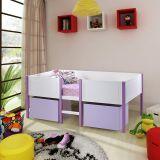 Cama Infantil Candy com 2 Gavetões/ Painel de Proteção - Madeira Maciça/ MDF - Laca Branco/ Lilás