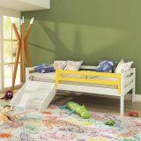 Cama Infantil Prime com Grade de Proteção Amarelo e Escadinha/ Escorrega - Madeira Maciça - Branco