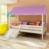 Cama Infantil Prime com Grade de Proteção, Telhado Completo Lilás e Kit Escadinha/ Escorrega - Casatema