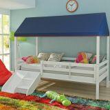 Cama Infantil Prime com Grade de Proteção, Telhado Completo e Kit Escadinha/ Escorrega - Casatema